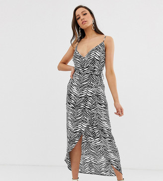 Asos DESIGN Tall cami wrap maxi dress in mono zebra print