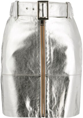 Pinko Leather Metallic Fitted Skirt