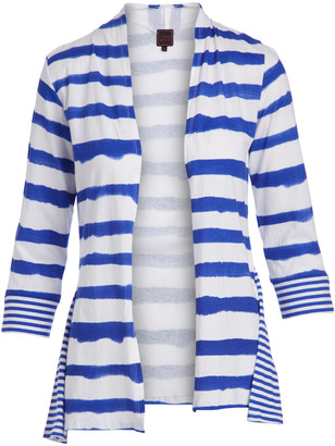Colour Works by In Cashmere Women's Cardigans CORNFLOWER - Cornflower Stripe Cardigan - Women