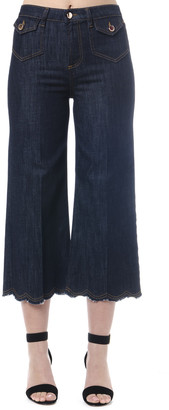RED Valentino Blue Denim Scalloped Hem Jeans