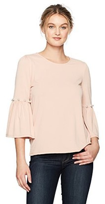 Adrianna Papell Women's Puff Sleeve Knit Top with Pearls