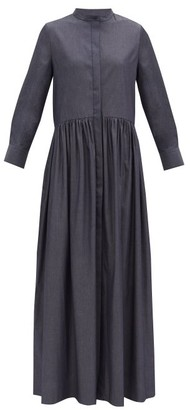 Brock Collection Cotton-blend Chambray Maxi Shirt Dress - Navy