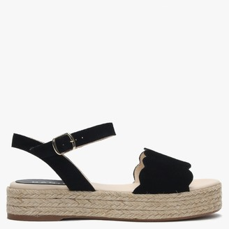 Daniel Black Suede Scalloped Flatform Espadrille Sandals