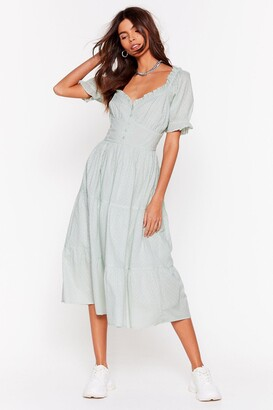 Nasty Gal Womens Tier for You Broderie Anglaise Midi Dress - Sage