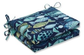 Pillow Perfect Hooked Lagoon Squared Corners Seat Cushion, Set of 2
