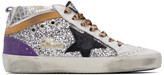Golden Goose Silver Glitter Mid Star Sneakers