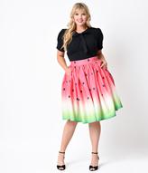 Unique Vintage Plus Size 1950s High Waist Watermelon Circle Swing Skirt