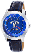Lucien Piccard Black & Blue Mother-of-Pearl Artista Leather-Strap Watch - Women