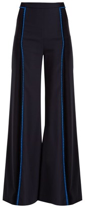 Galvan Chan Chan High-rise Wide-leg Trousers - Womens - Navy