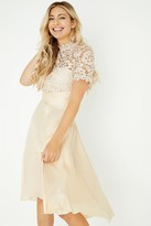 Little Mistress Lizzy Beige Crochet Lace Midi Dress