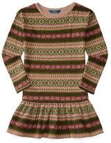 Ralph Lauren Girls 7-16 Fair Isle Ruffled Hem Dress