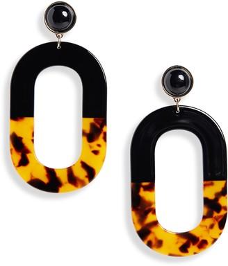 Halogen Two-Tone Resin Oval Drop Earrings