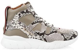 Bally Birko Snakeskin-Trim Leather High-Top Sneakers