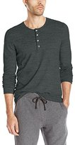Vince Men's Sporty Jaspe Mix Stitch Long Sleeve Henley Shirt
