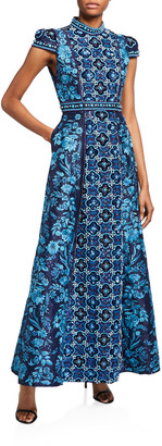 Alice + Olivia Nidia Embroidered Mock-Neck Cap-Sleeve Gown