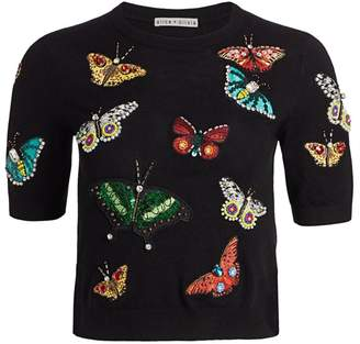 Alice + Olivia Ciara Butterfly Embroidery Stretch-Wool Pullover