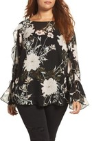 Lucky Brand Plus Size Women's Floral Print Bell Sleeve Top