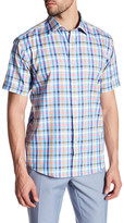 Bugatchi Trim Fit Short Sleeve Plaid Sport Shirt