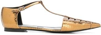 Stella McCartney Snakeskin-Effect Cage Ballerina Shoes