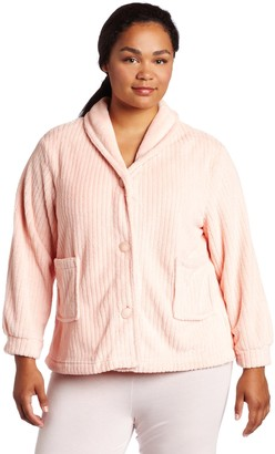 Casual Moments Women's Plus Size Shawl Collar Bed Jacket