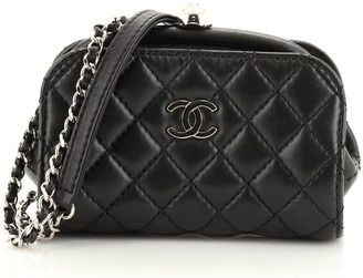 Chanel Kisslock Frame Crossbody Bag Quilted Lambskin