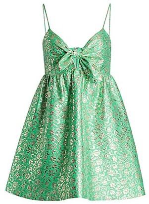 Alice + Olivia Melvina Tie-Detail Brocade Mini Dress