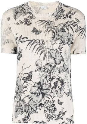 Etro Knitted Floral-Print Top