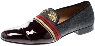 Christian Louboutin Multicolor Patent Leather and Wool Officer Loafers Size 44