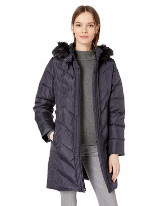 Larry Levine Women's 3/4 Chevron Down with Racoon Faux Fur Trimmed Hood