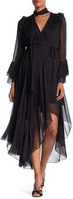 Diane von Furstenberg Diva Ruffle Chiffon Silk Wrap Dress