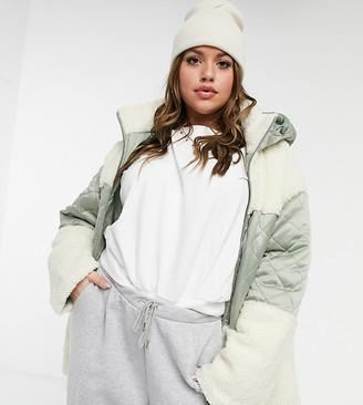 ASOS DESIGN Curve quilted fleece puffer jacket in sage