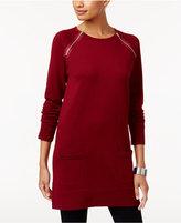 Jeanne Pierre Cotton Zipper-Trim Sweater