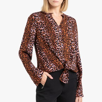 Maison Scotch Printed V-Neck Blouse with Long Sleeves