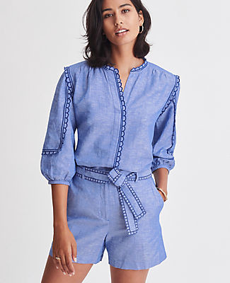 Ann Taylor Petite Chambray Scalloped Popover Top