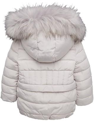 Very Girls Grey Longline Padded Faux Fur Hooded Coat - Grey