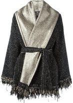 Etro metallic belted poncho - women - Polyamide/Polyester/Wool - 42