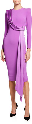Alex Perry Arden Satin Drape Fitted Dress