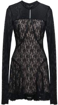Alexander Wang Ruffled Tulle And Lace-paneled Mini Dress