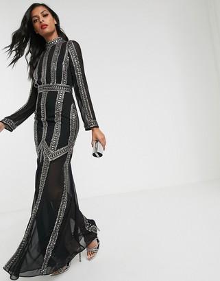 Asos Design DESIGN maxi dress with armour linear embellishment-Black