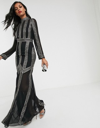 Asos Design DESIGN maxi dress with armour linear embellishment