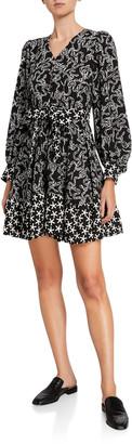 Stine Goya Farrow Belted Long-Sleeve Flounce Dress