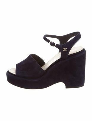 Chanel Suede Sandals Blue