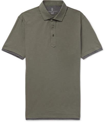Brunello Cucinelli Layered Slub Cotton Polo Shirt