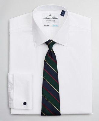 Brooks Brothers Big & Tall Dress Shirt, Performance Non-Iron with COOLMAX, Ainsley Collar Twill French Cuff