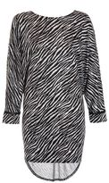 Quiz Light Knit Zebra Print Dip Hem Jumper