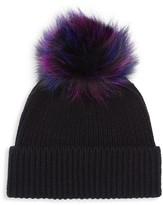 Amicale Knit Cashmere & Fox Fur Beanie
