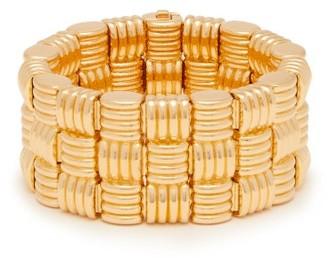 Bottega Veneta Intrecciato-woven Gold-plated Cuff - Gold