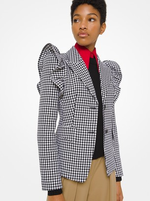 Michael Kors Dogtooth Cotton and Wool Ruffle-Shoulder Blazer