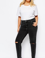 Asos Farleigh High Waist Mom Jeans in Washed Black with Busted Knee