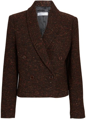 Anine Bing Mae Cropped Double-Breasted Tweed Blazer
